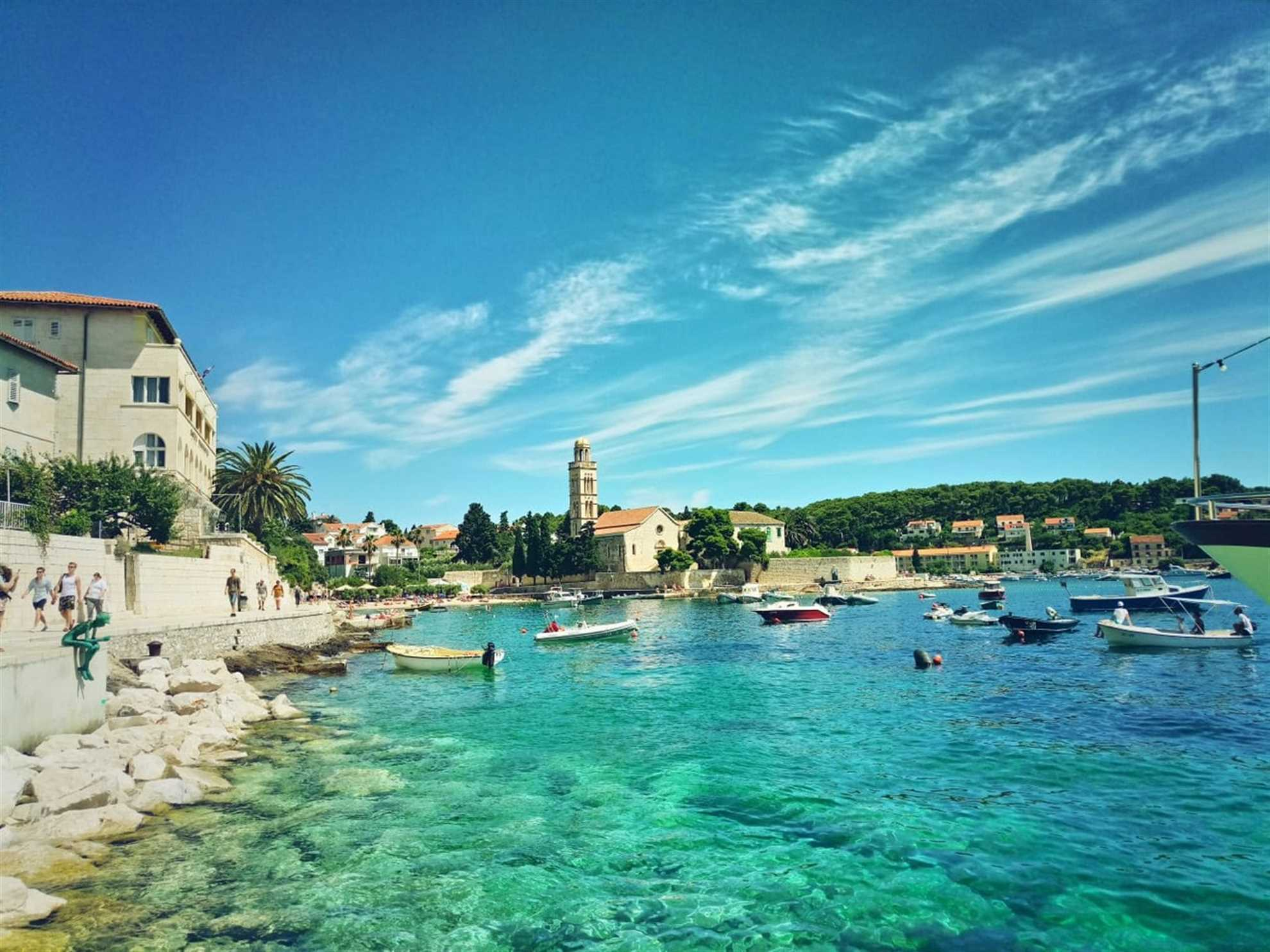 Beach in front of Franciscan Monastery in Hvar