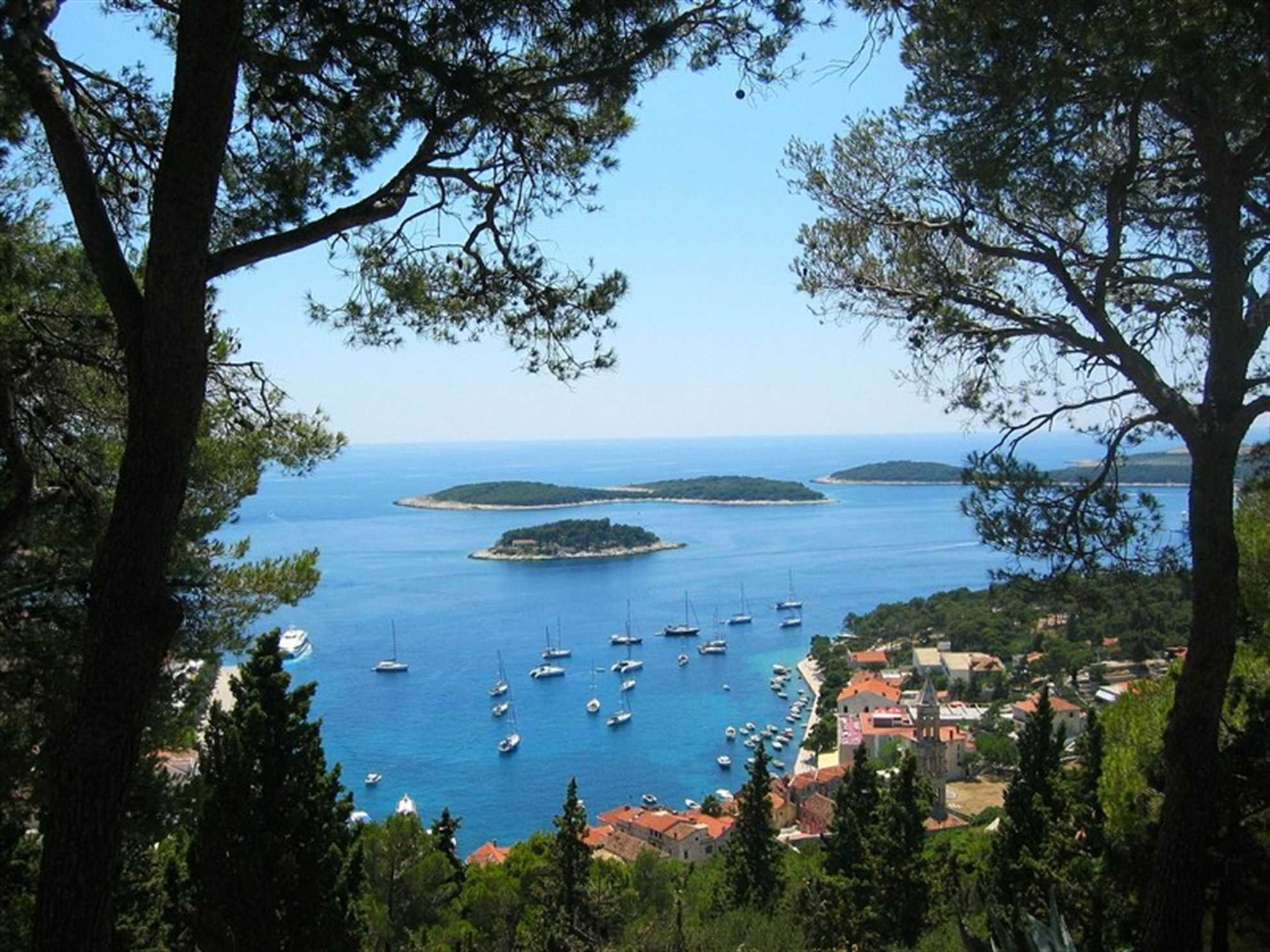 Pakleni islands archipelago in front of Hvar town