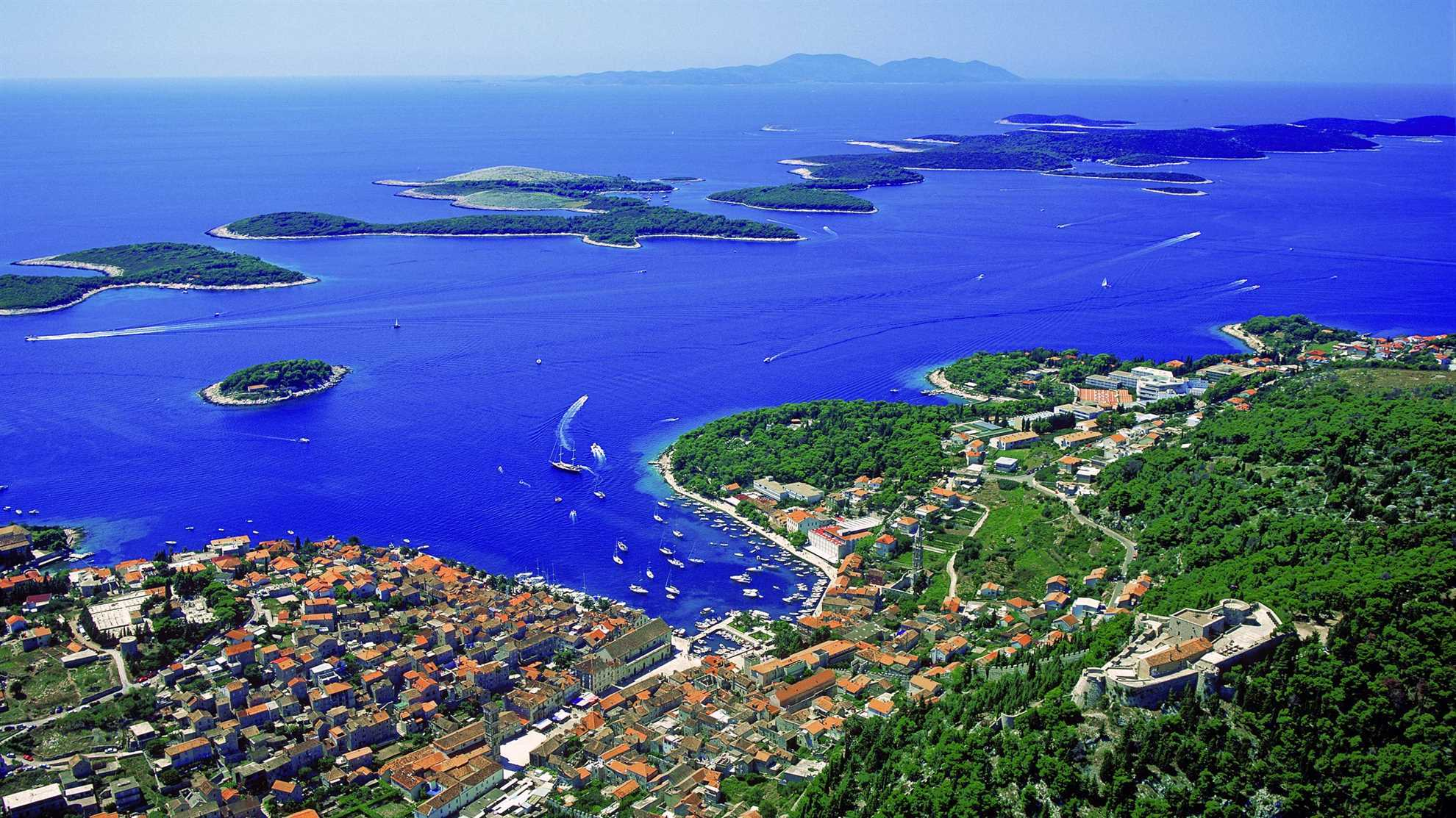 Panoramic view of Hvar Island in Croatia
