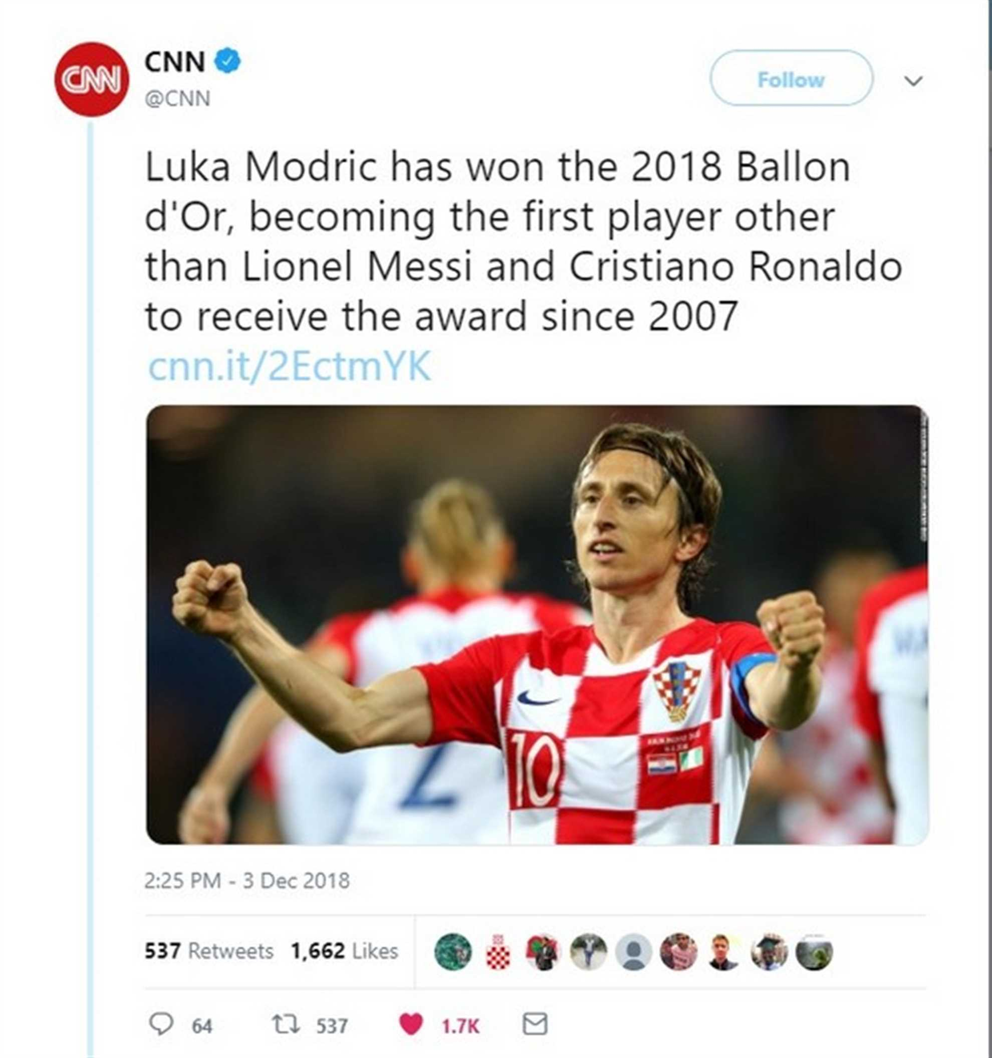 CNN reports about Luka Modric