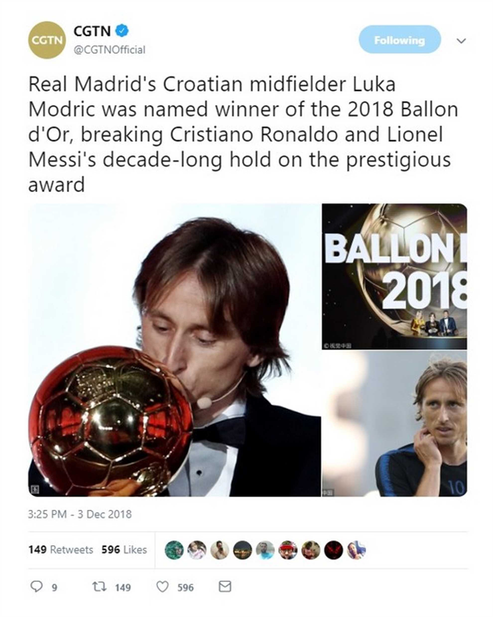 CGNT tweets Luka Modric won  Baloon D Or