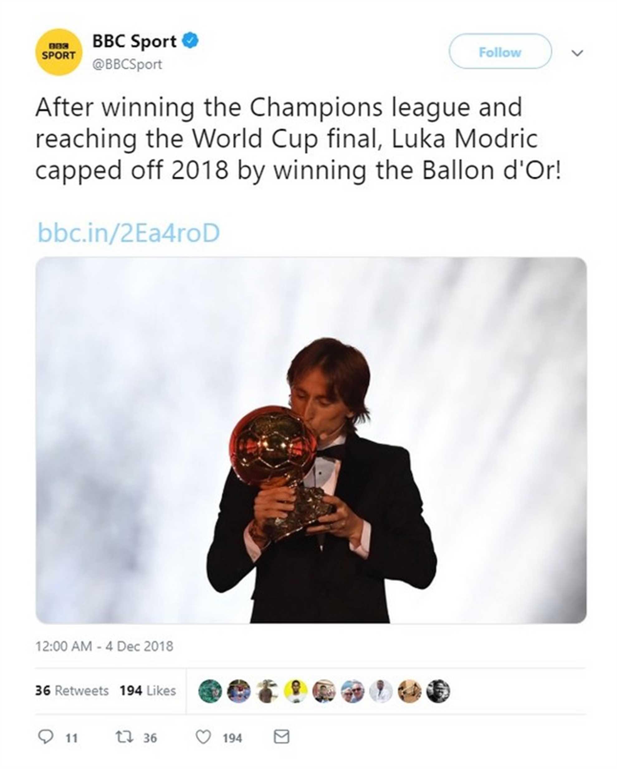 BBC Sport tweets about Luka Modric