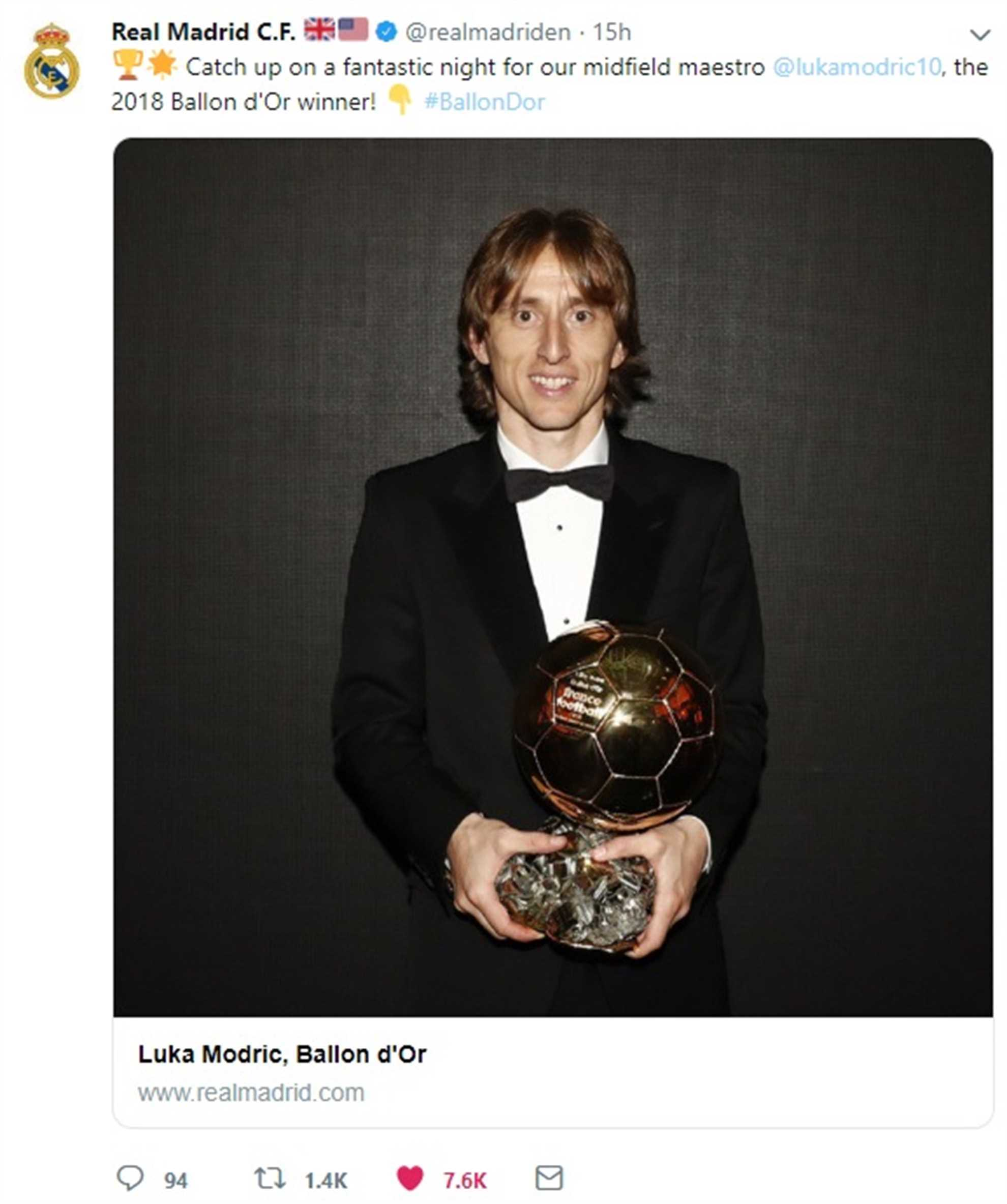 Real Madrod tweets about their midfield maestro Luka Modric