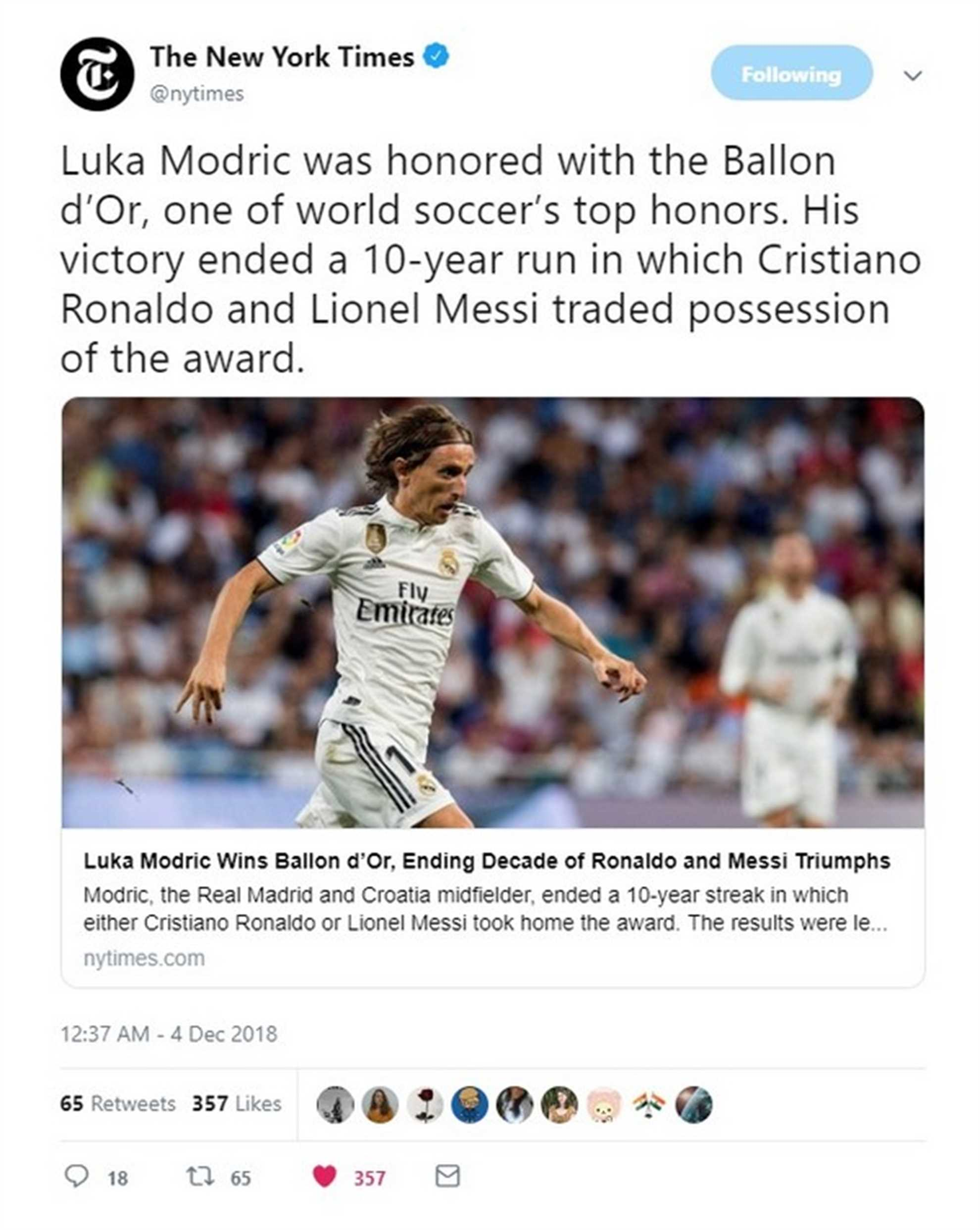 The New York Times reporst Luka Modric got Golden Ball award