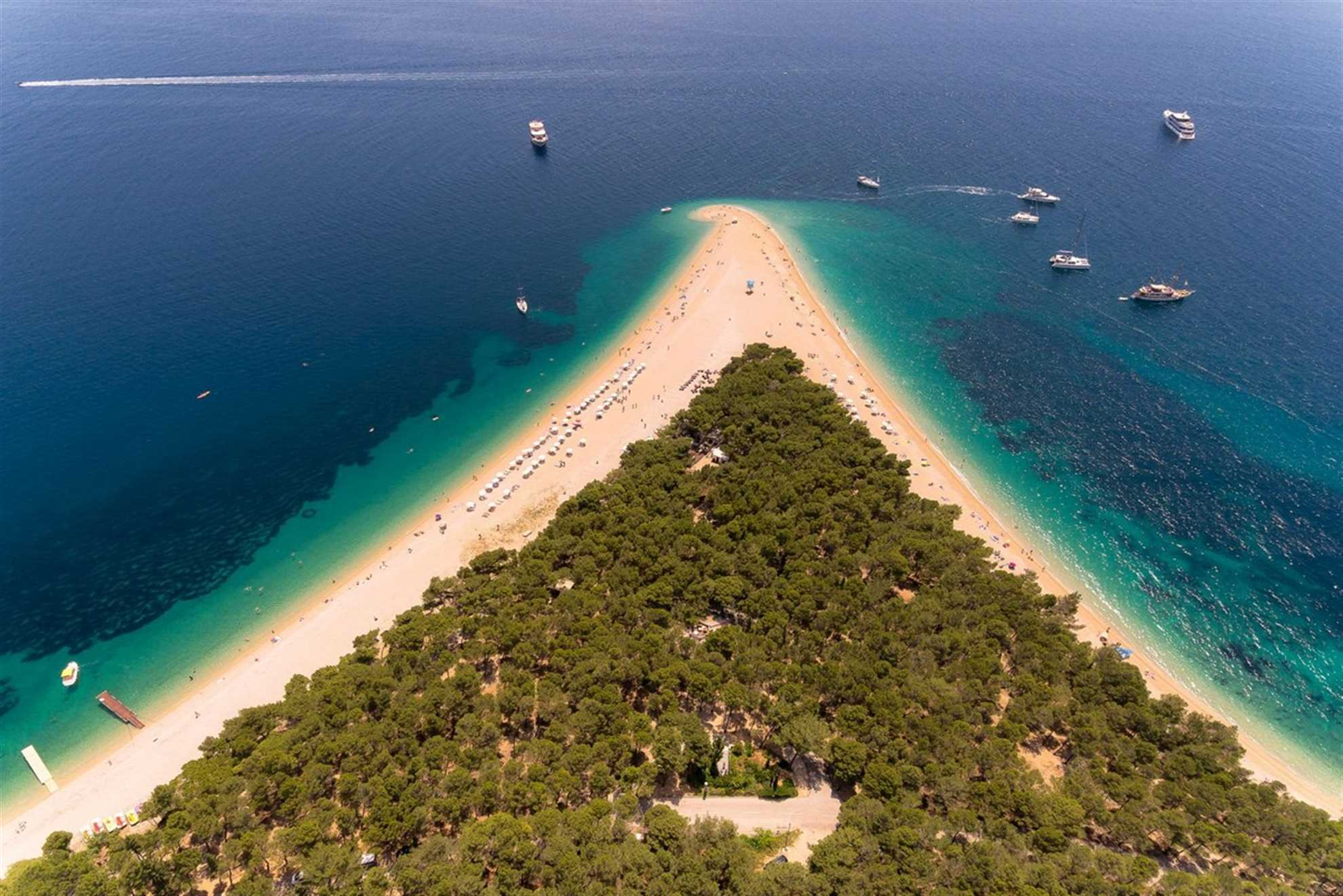 The Golden Horn Beach in Croatia , photo from air