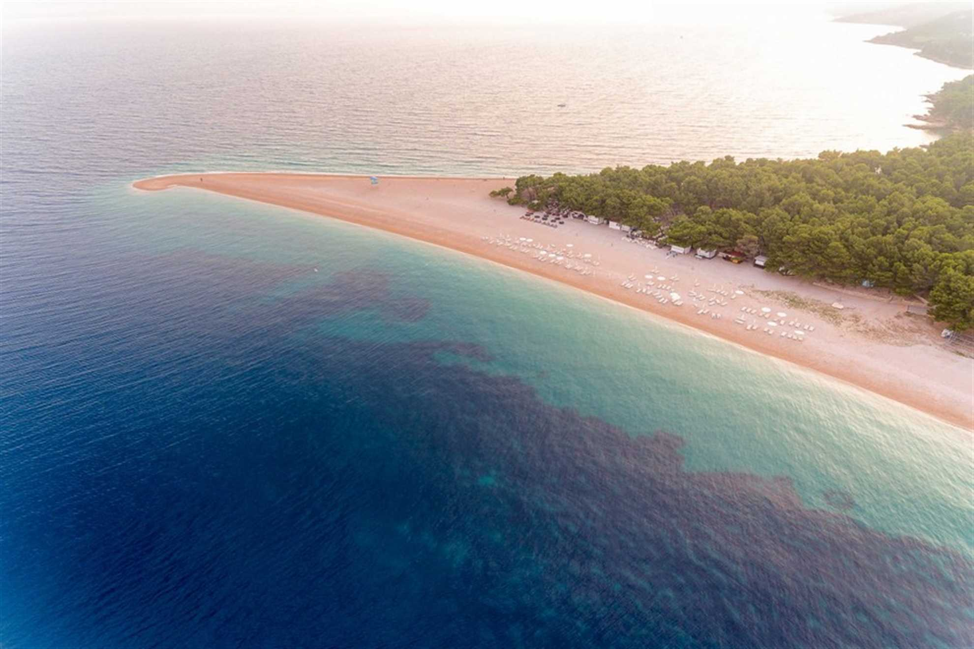 The Tip of the Tongue towards east on Golden Horn Beach in Croatia