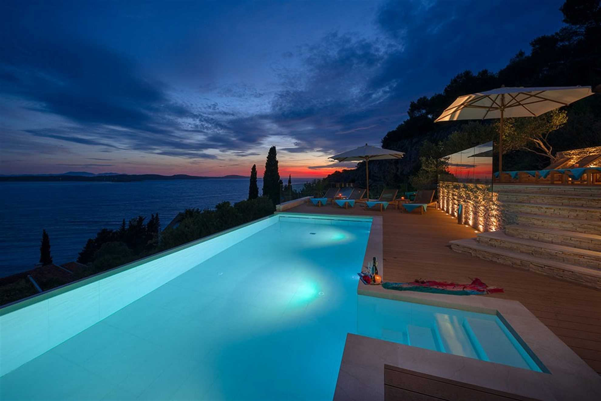 Stunning sunsets from the Pool Area of The Villa Hvar Residence with Swimming Pool in Hvar