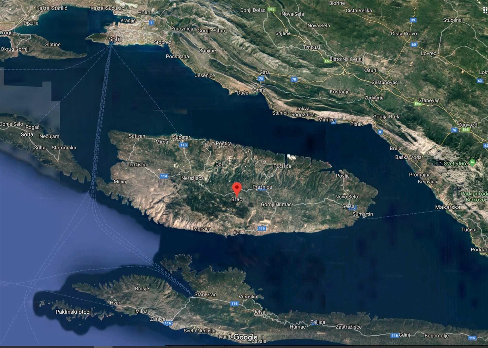 Brac Island in Croatia Satellite map