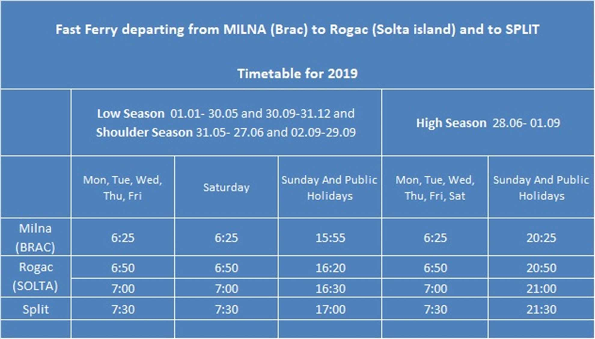 The timetable for the fast ferry from Milna (Brac) to Rogac (Solta) and to Split in 2019: