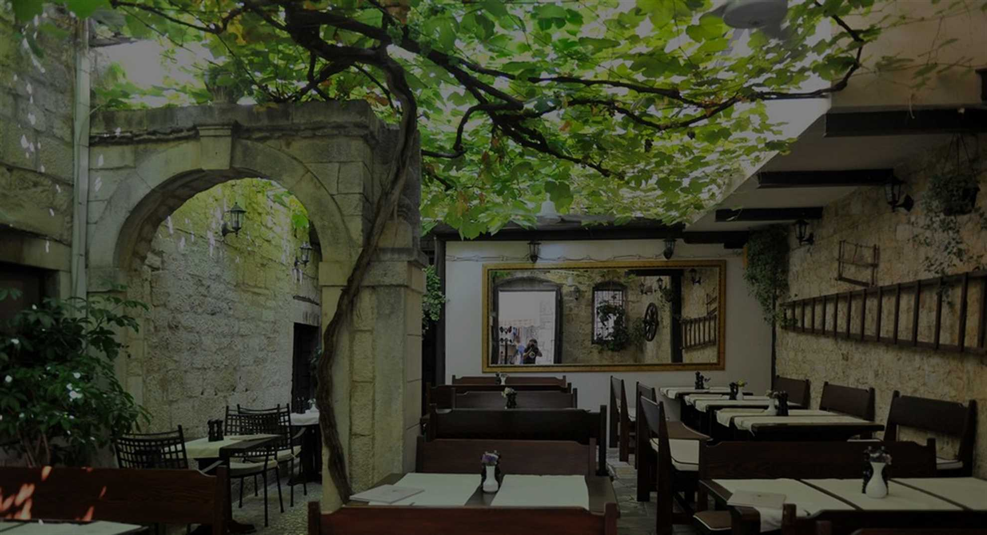 Tavern Trs in Trogir , Al fresco dining under the old vine