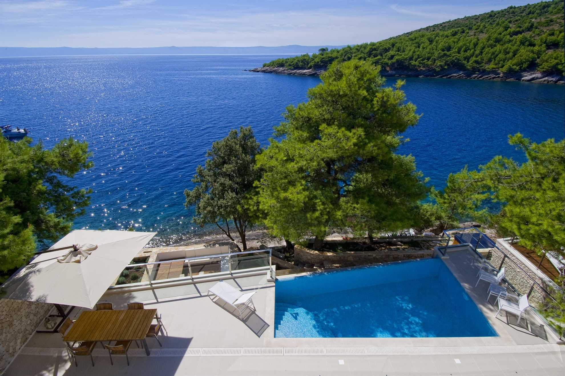 Sea View and Lounge Area of Luxurious Villa Sweet Dream with Swiming Pool, Brac, Croatia