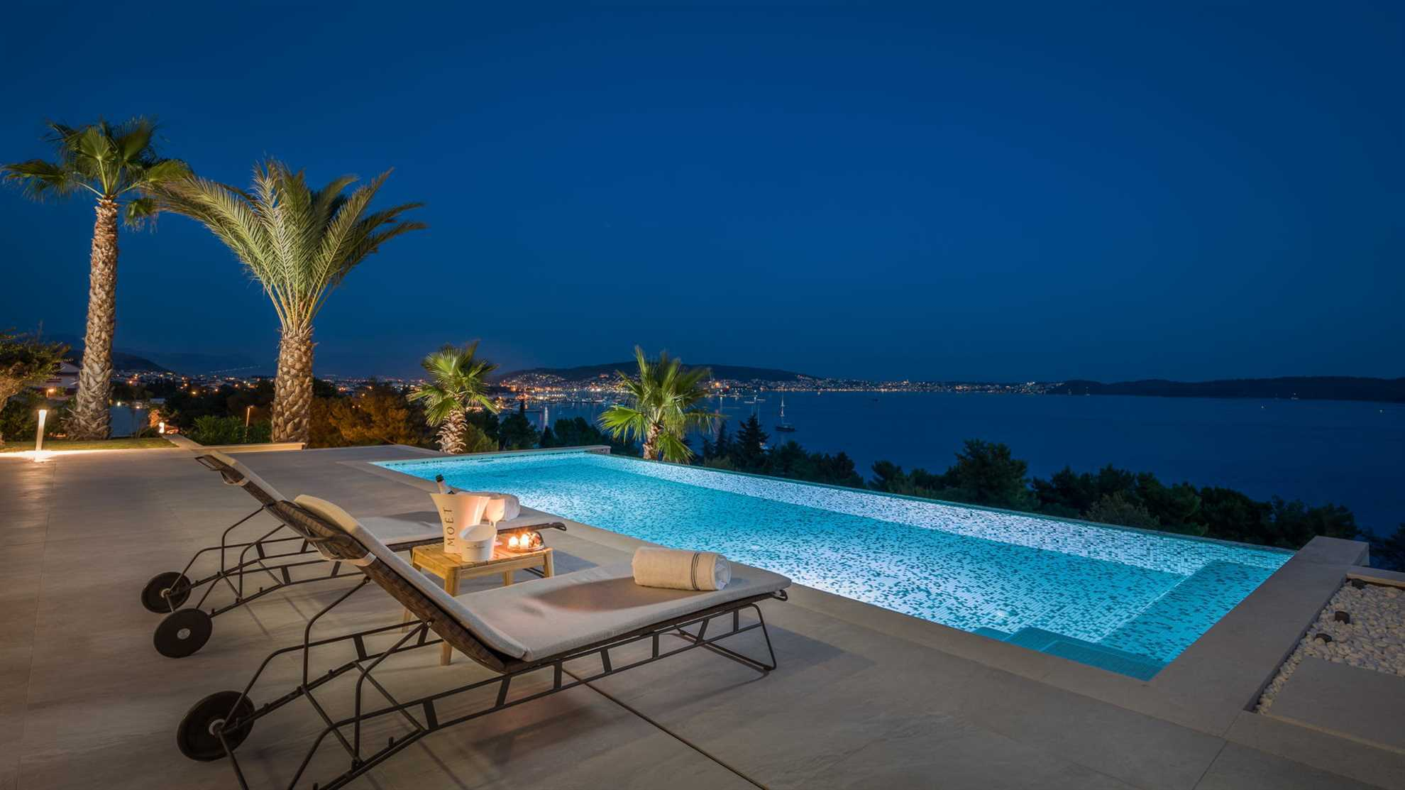 Swimming pool View at night, Ultraluxury Villa Elyzeum with Heated Pool in Trogir, Central Dalmatia