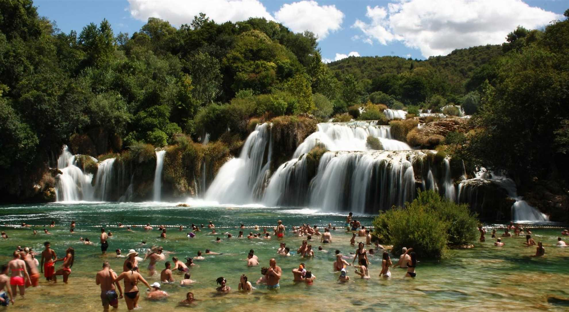 Skradinski Buk, the main waterfall of Krka River with swimming area