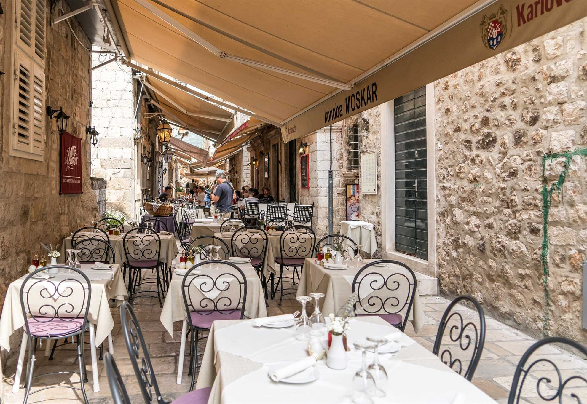 Restaurant in the alley in the old town of Dubrovnik